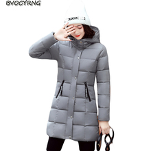 New Arrival Casual Warm Long Style Ladies Basic Coat Hooded Big Yards Jacket Women Parkas Cotton-Padded Women Winter Jacket Q770