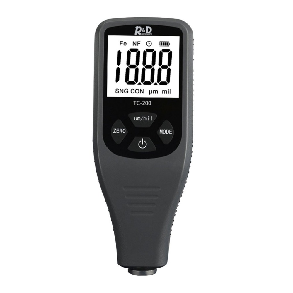 TC200 Digital Thickness Gauge Coating Meter Portable Thickness Meter Thickness Tester Measuring Range 0~1300um Backlight 4 8 days arrival lb92t portable sweetness tester brix meter with measuring range 58 92