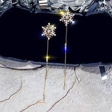 FYUAN Изысканная серьга из горного хрусталя для женщин Bijoux Длинная кисточка подвеска в виде снежинки серьги Свадебные украшения для невесты подарки