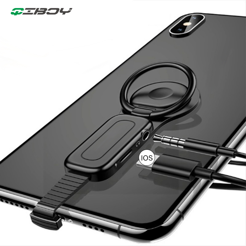 Lighting To 3.5mm Audio Earphone Adapter For IPhone X 8 7 Plus Adjust Finger Ring Holder Charger Adapter Connector OTG Adaptador