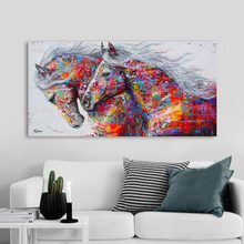 Wall Art Two Running Horses Poster Canvas Painting Animal Pictures For Living Room Graffiti Art Print Decoration Painting(China)