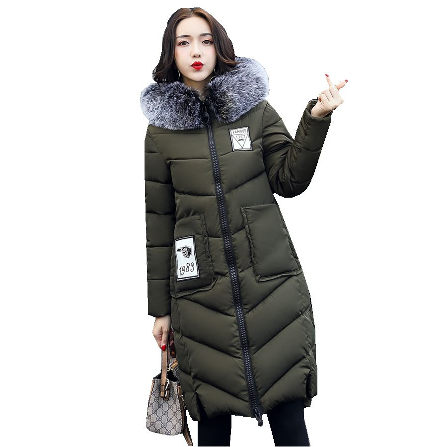 winter long jacket large fur collar wadded parks with letter print thin warm with hood Quilted insulated jacket outerwear geometric stand collar quilted wadded jacket