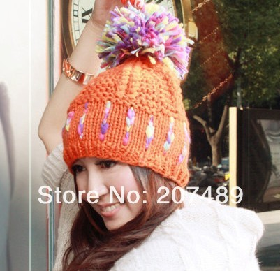 ladies''s fashion colorful fur ball Leisure Knitted hat Beanie Cap Autumn Spring Winter multi colors option