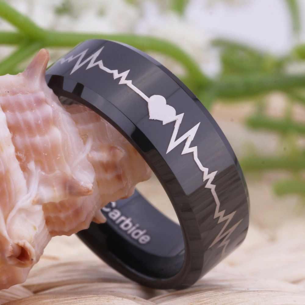 Бесплатная доставка YGK ювелирные изделия Горячая продажа 8 мм комфорт подходит навсегда любовь сердцебиение черный скос Мужские Вольфрам обручальное кольцо