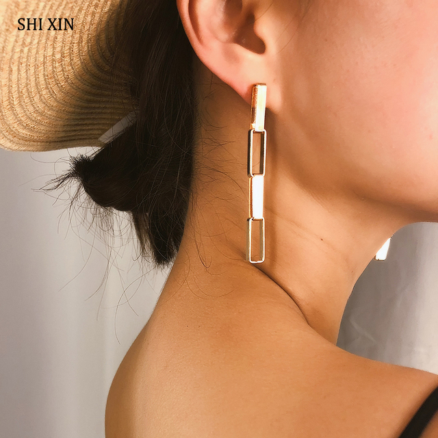 SHIXIN Long Earring for Women Girl Fashion 2020 Korean Earring Punk Gold Silver Color Chain Drop.jpg 640x640 - SHIXIN Long Earring for Women/Girl Fashion 2020 Korean Earring Punk Gold/Silver Color Chain Drop Earrings Female Earings Jewelry