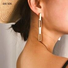 SHIXIN Long Earrings for Women Fashion 2019 Korean Hanging Punk Gold/Silver Chain Drop Female Earings Jewelry