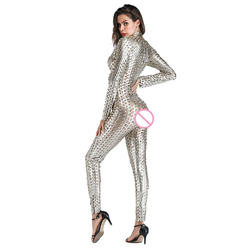 243420768f7d ... Gothic Punk Rock Scaly One Piece Jumpsuit Women Metallic Hollow Out Catsuits  Sexy Wet Look Vinyl ...