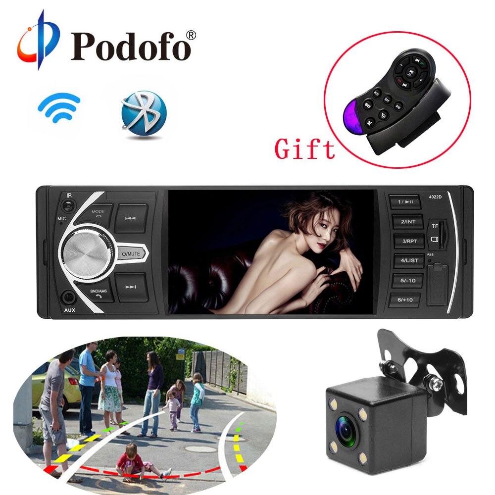Podofo Autoradio 4.1 ''Voiture Radio 1Din Audio Stéréo FM Bluetooth Volant Télécommande Dynamique Intelligent Caméra de Recul