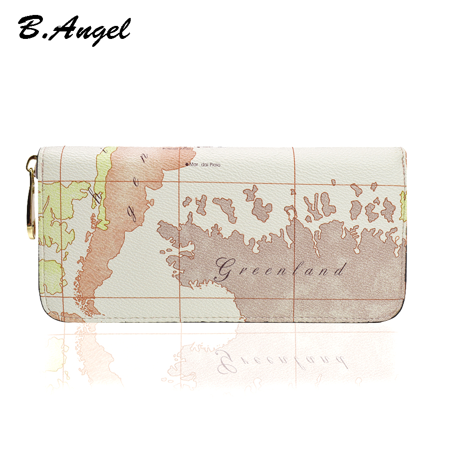 White World Map Wallets Retro Purse Brand Design Women Leather Long Zipper Wallets Purse Women Card Holders Women Clutch Purse wallet