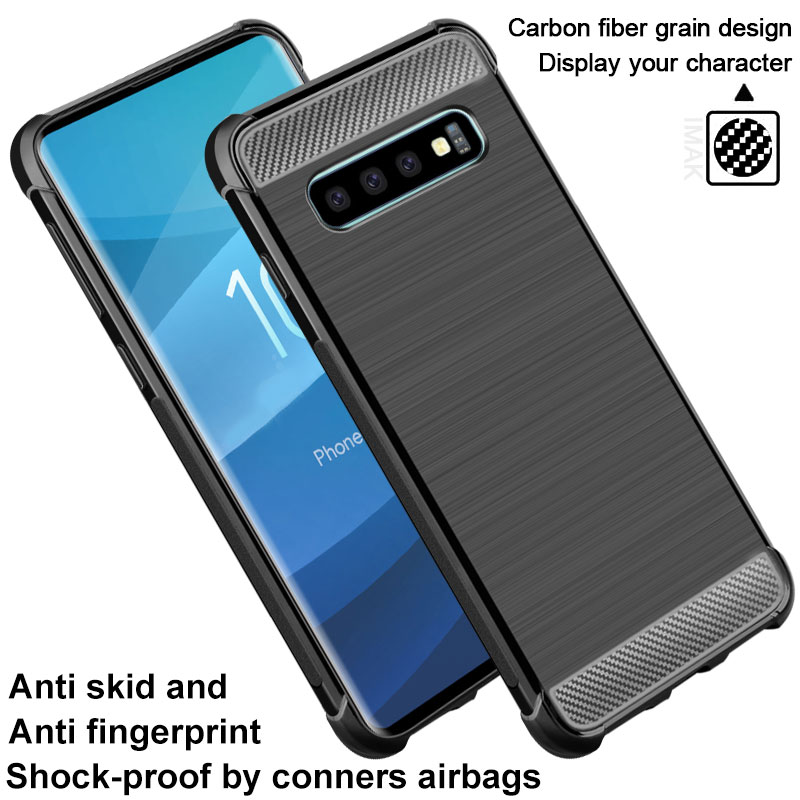Carbon Fiber Case For Samsung Galaxy S10 Case Plus Soft Silicone Airbag Back Covers For Samsung S10 Plus S 10 S10 E Coque
