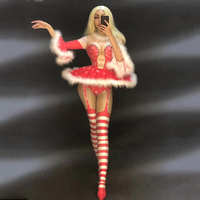 Christmas Style Women Sexy Bling Jumpsuit Costumes White Fluff Short Skirt Big Sleeve Nightclub Party Stage Wear Dancer Singer