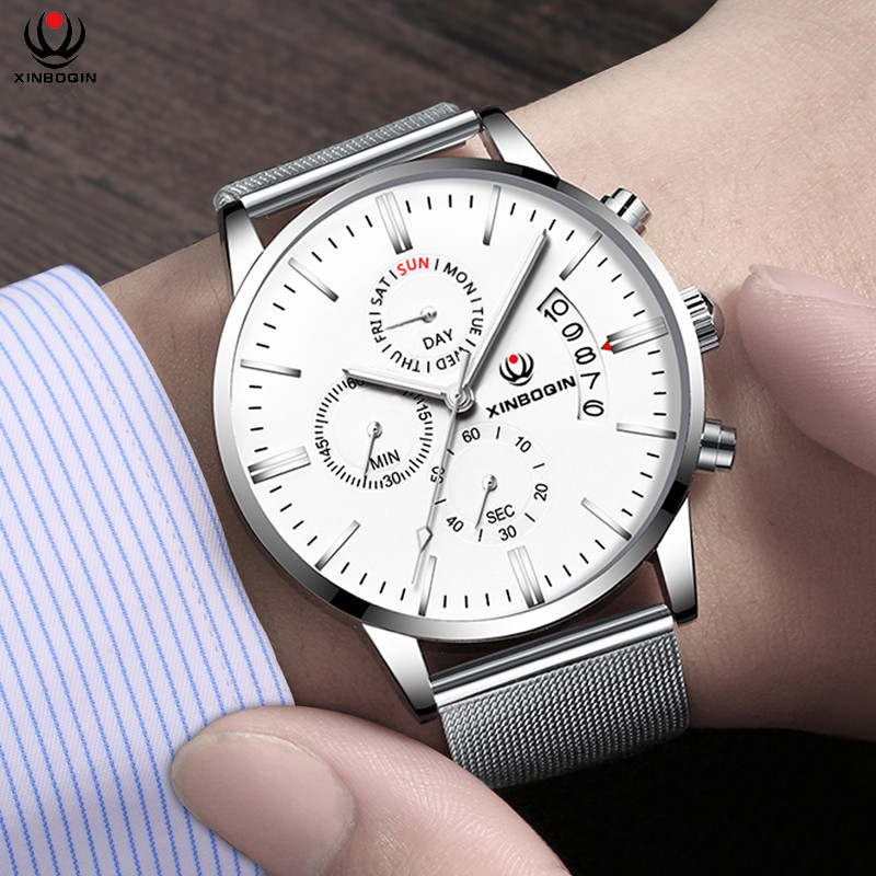 XINBOQIN Brand Mens 100% Real Stainless Steel Mesh Strap Watches 3 Eye Calendar Wrist watch Japan Quartz Watch Casual Relojes