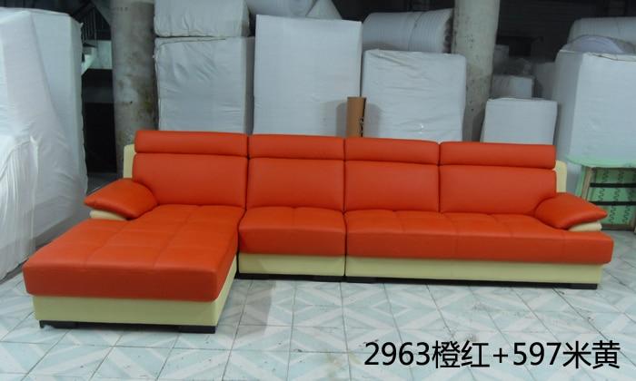 Free Shipping European Style Living Room Furniture Top Grain Leather L  Shaped Corner Sectional Sofa Set Orange Leather Sofa