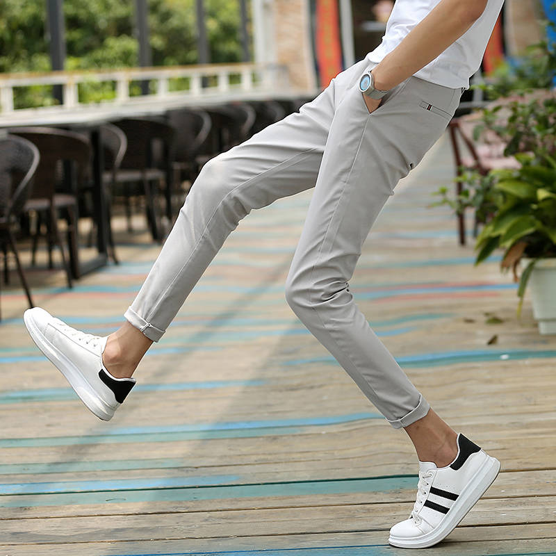 Nine Points Of Pants Men's Resilience, Nine Points Of Students Korean Version Trend Young Boys' Casual Pants In Summe