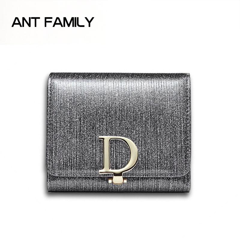 Genuine Leather Women Wallets Short Fashion Mini Small Wallets portefeuille Glitter Coin Purse Ladies Card Holder Portfel damski