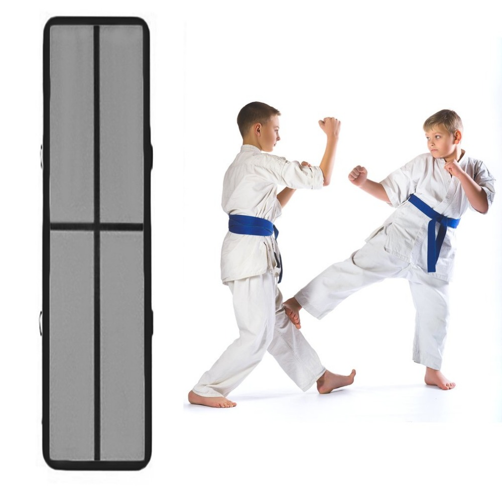 Inflatable Taekwondo Cushion Training Mattress Air Floor Tumbling Gymnastics Cheerleading Mat Trick Pad With Electric Pump taekwondo sanda boxing training target black red size m