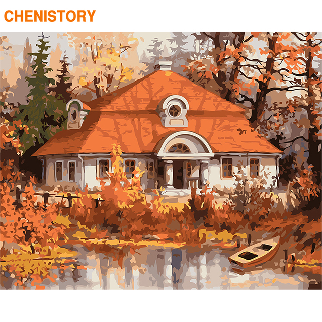 CHENISTORY Frame DIY Painting By Numbers Wall Art Canvas Painting Autumn Landscape Paint By Numbers Coloring By Numbers Home Art