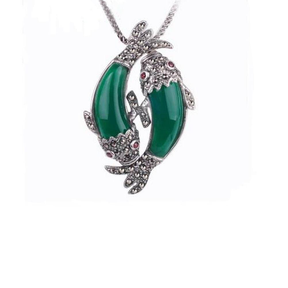 2 couleurs vert calcédoine dessin animé naturel pierres semi-précieuses 925 rétro argent opale sirène/clair de lune pendentif poisson