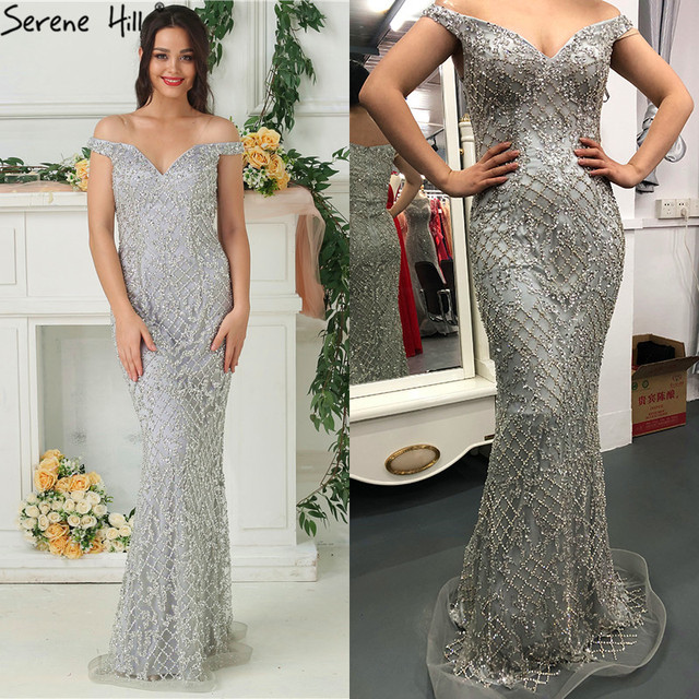 2020 Luxury High end Fashion Mermaid Evening Dresses Newest Diamond Sequined Sexy Formal Dress  Real Photo LA6406