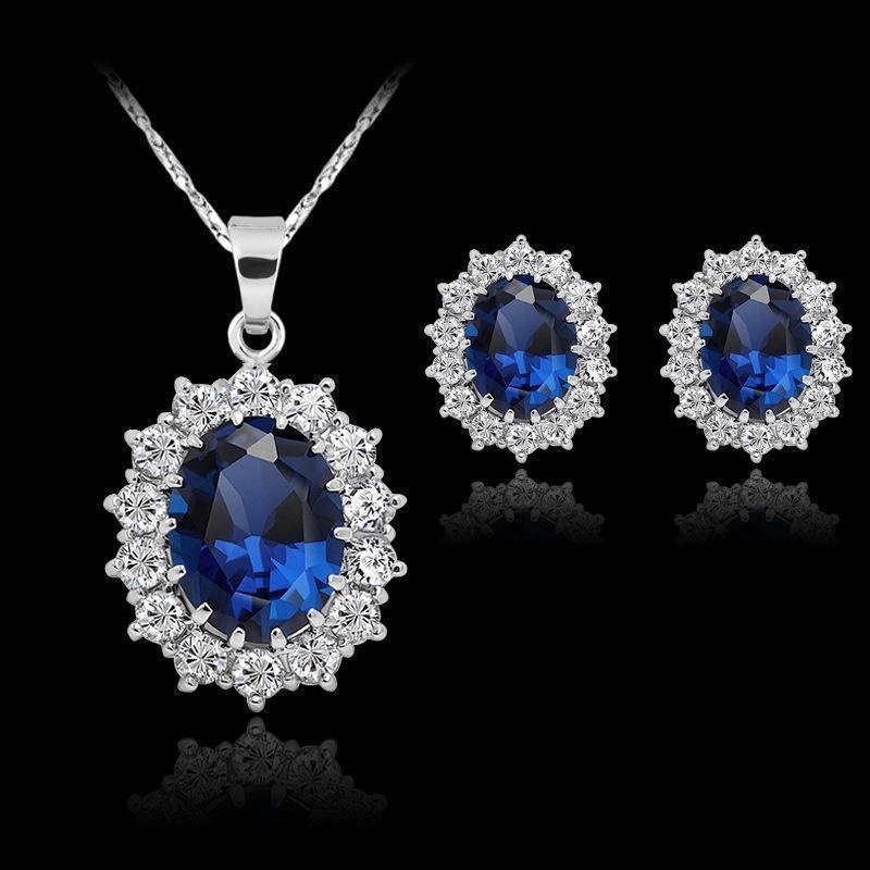 Модный свадебный комплект ювелирных изделий для женщин синий цветок кулон цепочки и ожерелья серьги гвоздики набор леди подарки