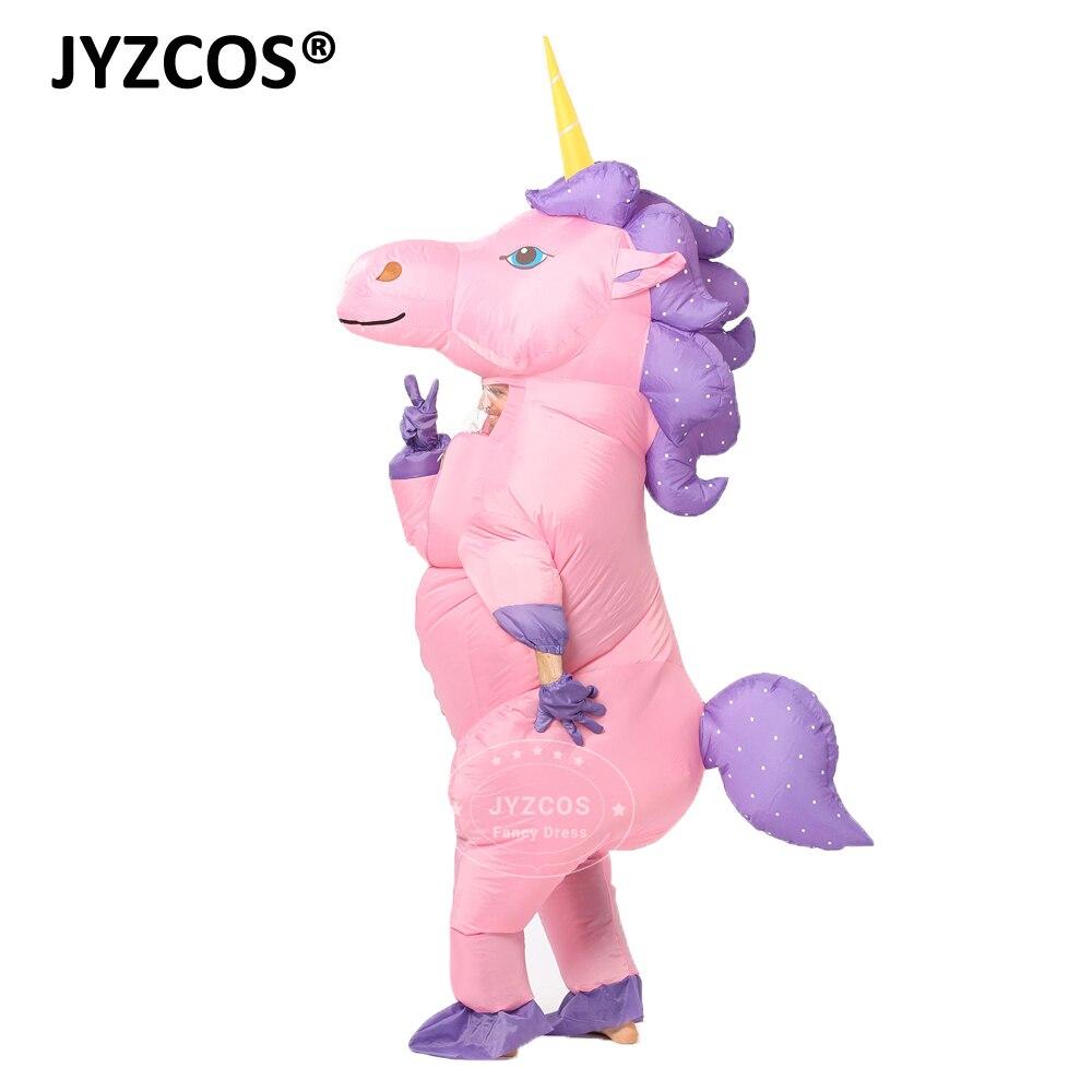 JYZCOS Nuovo Unisex Adulti Bambini Gonfiabile Unicorn Costume di Carnevale Costumi di Halloween Cosplay Animal Abbigliamento Fancy Vestiti Interi Eleganti