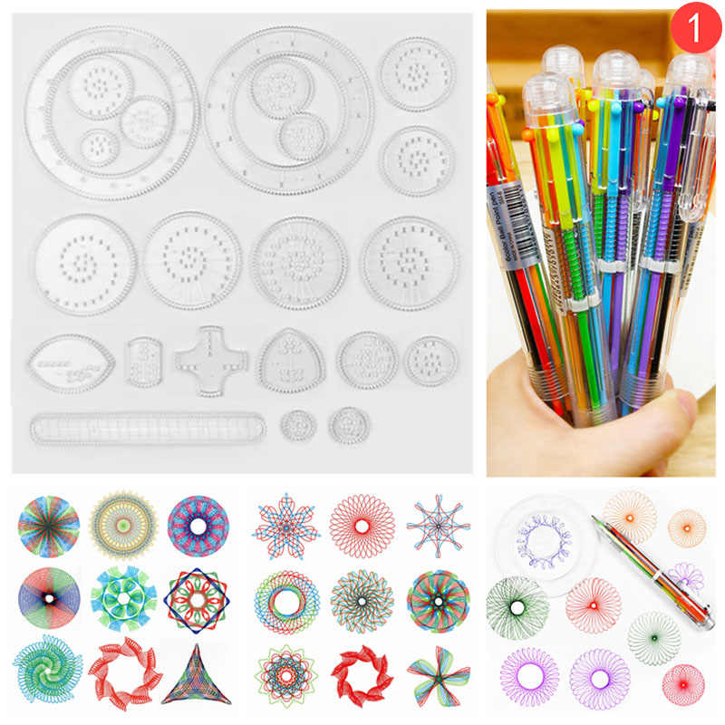 NOVO Desenho Pintura Brinquedos Educativos Para Crianças 22 Spirographs pcs Spirograph Bloqueio Engrenagem Rodas de Brinquedos das Crianças Presentes