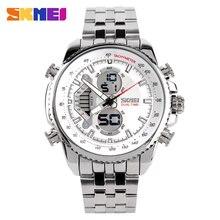 Famosa marca hombres deportes relojes completa de acero del reloj para hombre de cuarzo de moda LED impermeable militar reloj Relogio Masculino