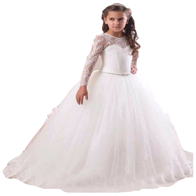 5635d5238b15 Hot Sale 2017 Long Sleeve Flower Girl Dresses for Weddings Lace First Communion  Dresses for Girls Pageant Dresses White Ivory