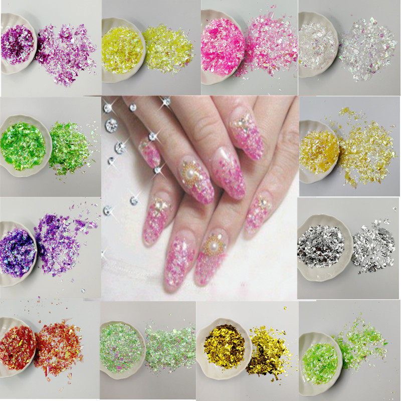 20g Irregular Shell Paper Sequin DIY Nail Flakies Colorful Paillette Glitter Nail Art Sequins for 3D Nail Art Decoration in Sequins from Home Garden