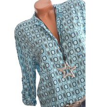 Women Shirts Summer Autumn Casual V-neck Loose Chiffon Blouse Women Top Camisa Feminina Long Sleeve Ladies Print Blouses Shirt