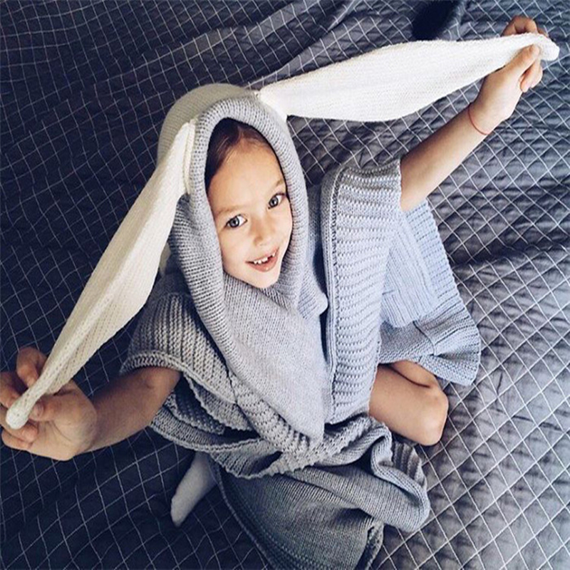 INS Hot Sale Stereoscopic Rabbit Ear Design Pure Cotton Knitted Grey and White Color Cotton Lovely Baby Blanket chic quality casual style solid color cotton pattern knitted blanket