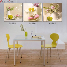 Free shipping modern multi still life wall art on canvas 3 piece flower oil paintings with fruit for dining room