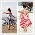 2016 лето, полное платье спагетти ремень цельный платье полоса ребенок богемы пляж платье девушка