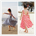 2016 summer full dress spaghetti strap one-piece dress stripe child bohemia beach dress girl
