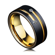 BEIER New Arrival High Quality Mens Wedding Bands 8mm Black Tungsten Rings with Gold Groove CZ Stone Couple jewelry BR-W075