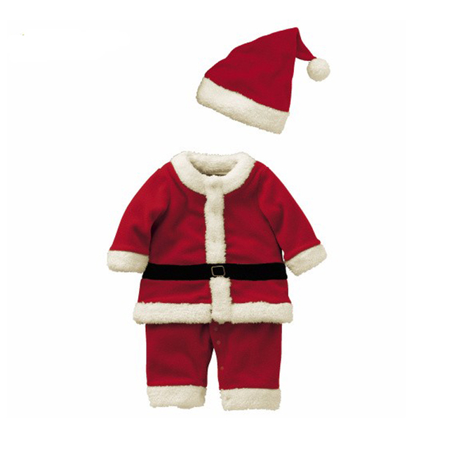 58858145d0e0a US $11.9 |2016 Christmas Costume Baby Boys Clothes Sets Baby Santa Claus  Rompers Long Sleeve +Hat Suits Toddler Baby Clothes Warm Fleece-in Clothing  ...
