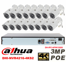 Dahua original 16CH 3MP H2.64 DH-IPC-HFW1320S 16pcs bullet IP security camera POE DAHUA DHI-NVR4216-4KS2 Waterproof camera kit