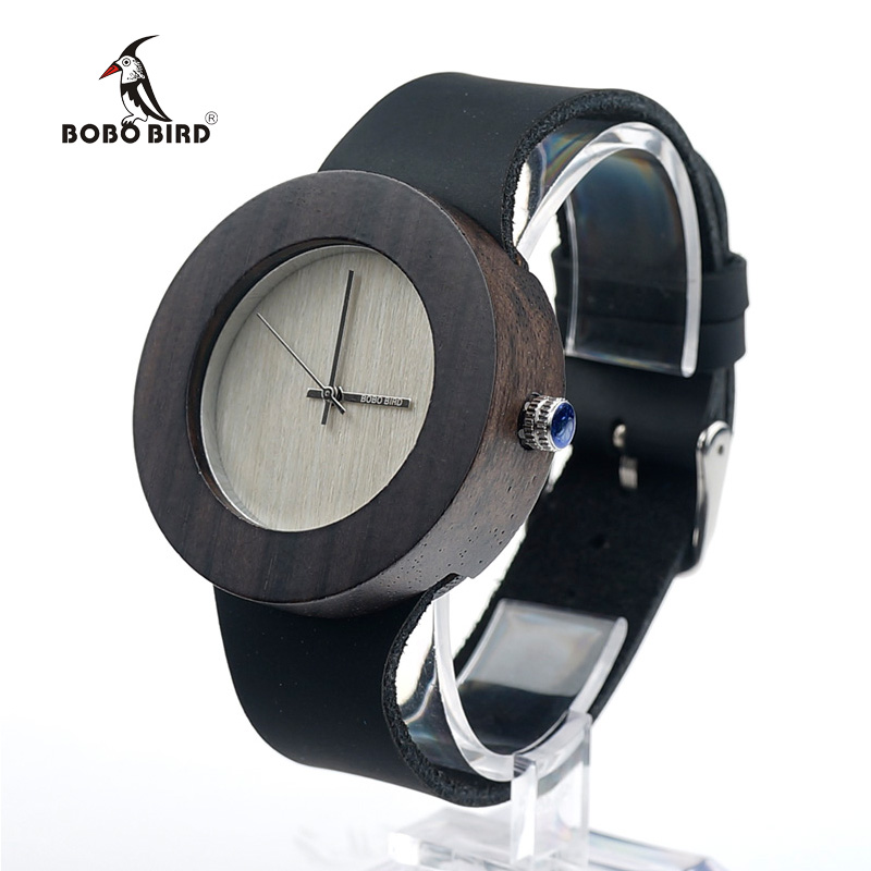 BOBO BIRD Ebony Wooden Watches for Women Silver Pointer With Normal Logo Wood Dial Leather Strap Quartz Watch SUPERIA OEM