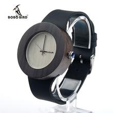 BOBO BIRD heban drewniane zegarki dla kobiet srebrny wskaźnik z normalnym Logo drewno Dial skórzany pasek zegarek kwarcowy SUPERIA OEM
