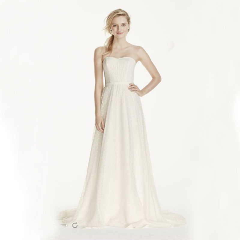 Ruching Wedding Gowns: 2016 Strapless Polka Dot A Line Dress Ruching On Bodice