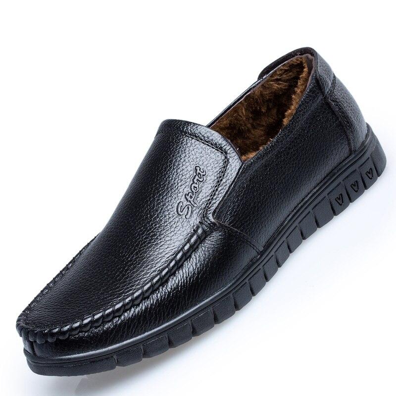 Noir marron Mode Casual Mocassins D'affaires Hommes De Aa12282 Formelle En Chaussures Mariage Hiver Cuir Mâle Robe iXkZPu