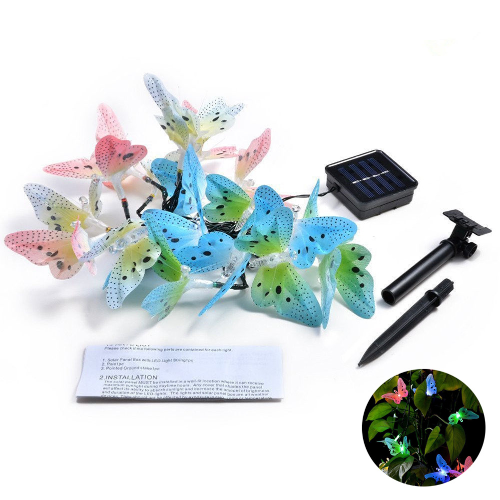 12/20 LEDs Bunte schmetterling Solar Power Licht, Schmetterling Fiber Optic Fairy String Freien Gartendeko Supplies-M25