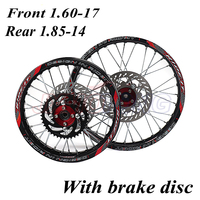 15mm Front 1.60 17 Rear 1.85 14 inch Alloy Wheel Rim with CNC Hub brake disc For KAYO HR 160cc TY150CC Dirt Pit bike 14/17 inch