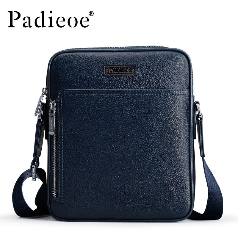 Padieoe vente chaude hommes de sac d'épaule d'affaires de luxe designer en cuir véritable occasionnels petit sac bandoulière messenger sacs
