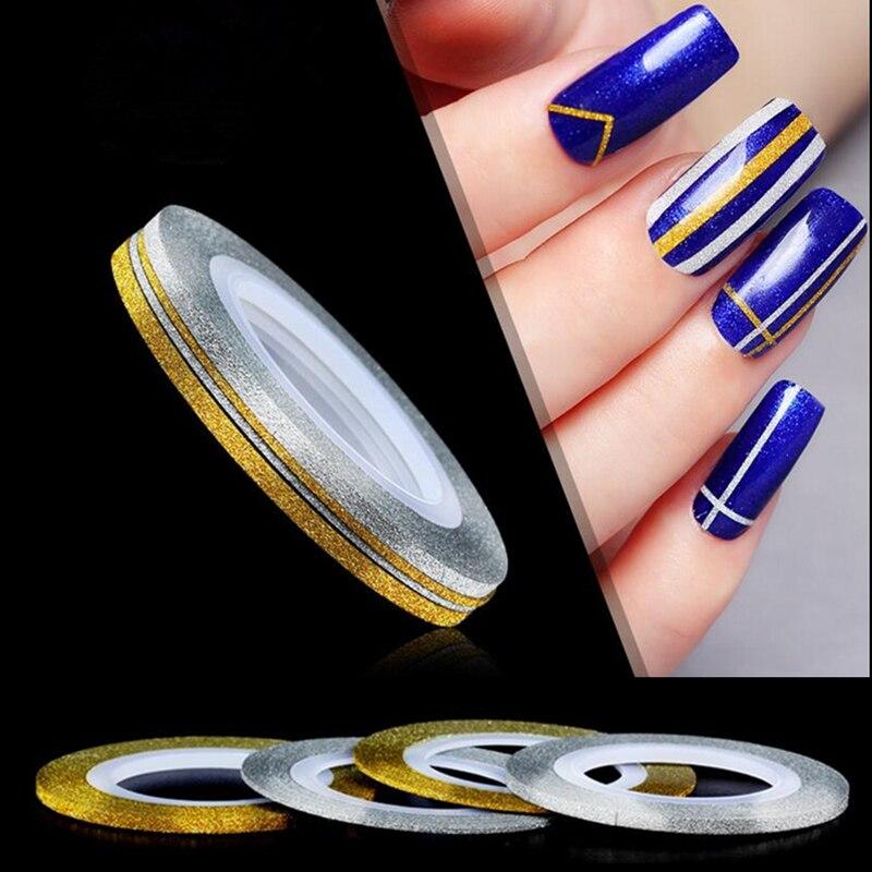 Gold Striping Tape Nail Art: 1mm 2mm 3mm Nail Art Scrub Metal Gold Silver Striping Tape