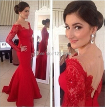 robe de soiree vestido festa 2015 red long prom dress stunning open back sleeves party lace sexy meramid evening