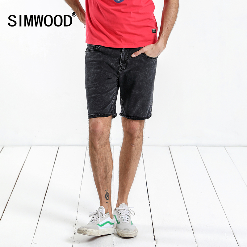 SIMWOOD 2019 Summer New Denim Shorts Men Solid Knee Length Washed   Jeans   Slim Fit High Quality Vintage Brand Clothing 180198