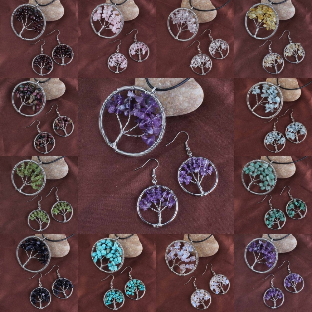 Kraft-perle Posrebrene višeslojne kvarcne kamene drvce života Ručno izrađene žice naušnice Ogrlice Setovi nakita za žene