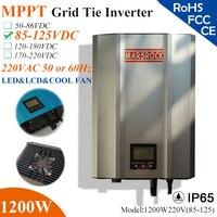 1200 Вт mppt сетки галстук микро инвертор с IP65 Водонепроницаемый, 85 125vdc, 220 В (190 260vac), LED & ЖК дисплей дисплей для солнечной панели системы