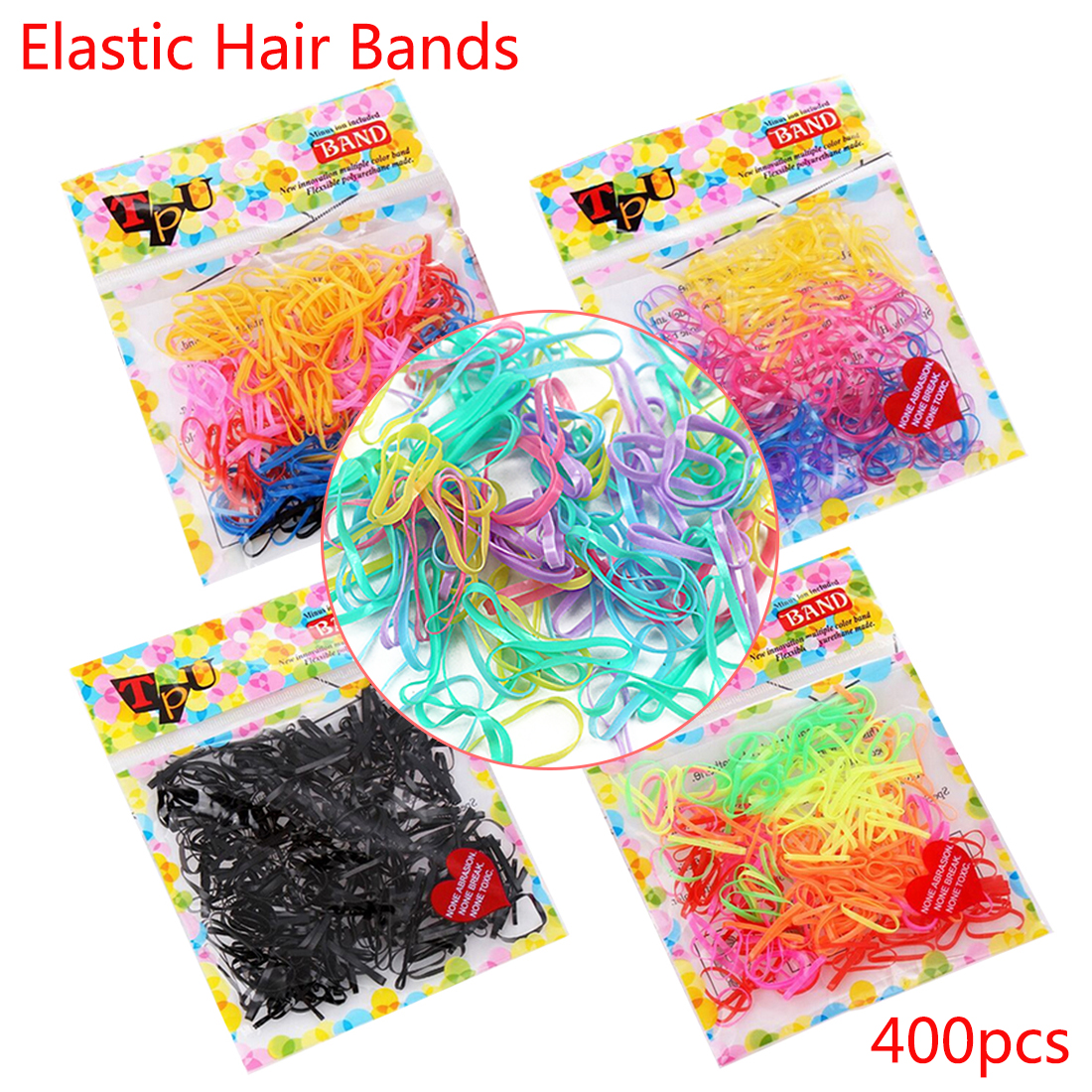 400pcs/lot Korean Style Headwear Elastic Rubber Band One-Off Braiding Hair Rings Tie Gum Scrunchy for Girls Hair Accessories metting joura vintage bohemian ethnic tribal flower print stone handmade elastic headband hair band design hair accessories